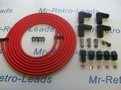Red 7Mm Copper Core Tinned Ignition Lead Kit 3 Meters Ht Kit Car Older Cars
