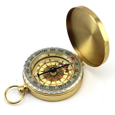 Pocket Brass Watch Style Military Army Compass Outdoor Camping Hiking Keychain