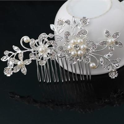 Fashion Wedding Bridal Flower Pearl Diamante Crystal Rhinestone Hair Comb Clip S