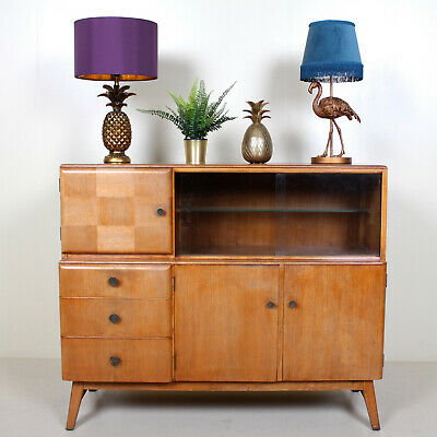 Retro Vintage Oak Sideboard Cocktail Cabinet Highboard Bookcase Glazed