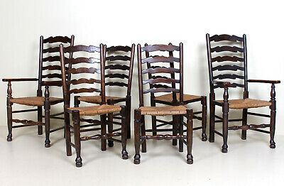 6 Antique Oak Rushwork Country Dining Chairs Rustic Farmhouse Sussex Chairs