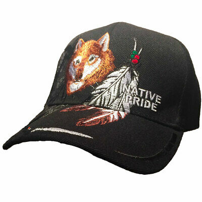 Casquette loup native pride USA- western - country color noire  homme/femme