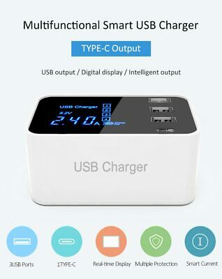 4 Multi-Port USB Adapter Desktop Wall Charger Smart LED Display Charging Station