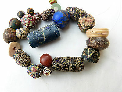 Ancient Roman Islamic Mosaic Glass Beads, ancient Sassanian spindle whorls