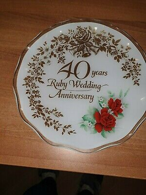 Vintage 40th/Ruby Wedding Anniversary  Glass Plate with Hanger