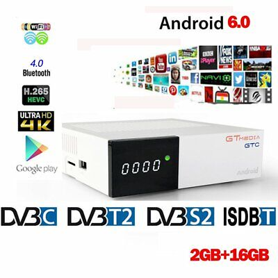 GTMedia GTC Android 6.0 TV Box DVB-S2/T2/Câble/ISDBT Amlogic S905D 2 Go16 Go Box