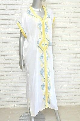 def3c8a2176 Vintage White Caftan Maxi Dress with Embroidery Bohemian Hippie Women s  Cover Up