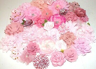 Shades Of Pink Fabric Silk Flowers Craft Hair Clips DIY SEW/GLUE ON Mixed KIT