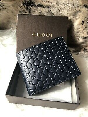 9c38146841f NWT Authentic GUCCI Guccisimma GG BiFold Wallet In Dark Blue Embossed  Leather