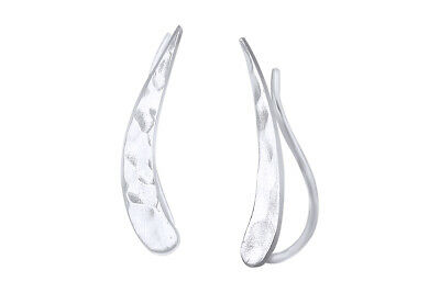 Solid Sterling Silver Bright Stars Star Curved Climber Crawler Stud Earrings