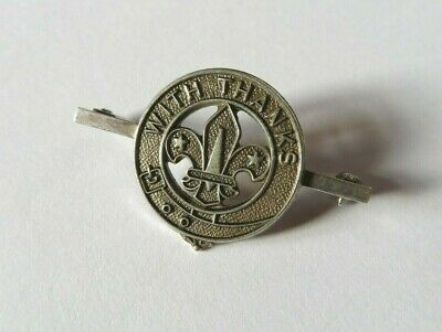 Vintage Solid Silver Boy Scout With Thanks Badge / Pin Hallmarked 1979