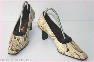 BRIEFING Court shoes All Leather Reptile Natural T 36 VERY GOOD CONDITION