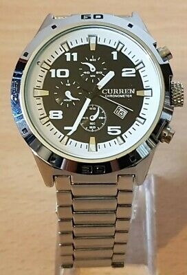 CURREN Luxury Mens Chronograph Automatic Date Stainless Steel Quartz Watch (A2)