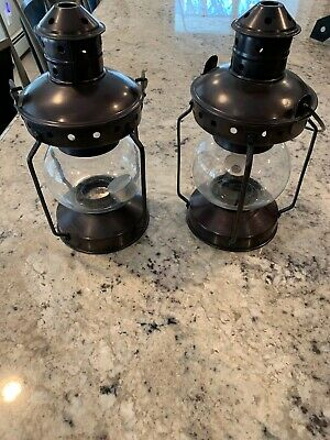Two Antique Style Metal Round Clear Glass Burner Candle Hanger Lamp Lantern