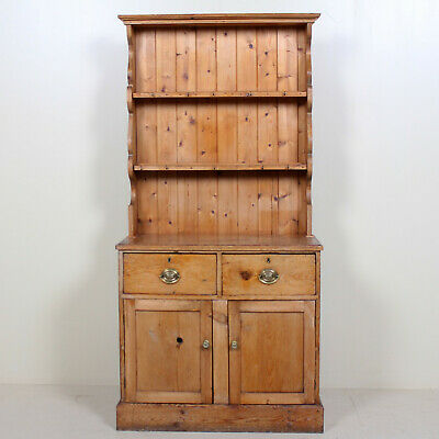 Antique 19th Century Rustic Carved Pine Kitchen Welsh Dresser Farmhouse Petite