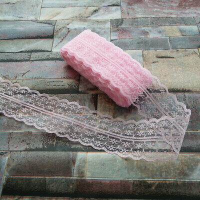 Pretty 10 Yards Pink 40mm embroidery lace ribbon lace Bilateral DIY accessories