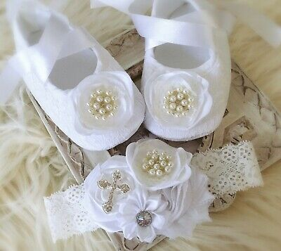 Baby Girl White Christening Baptism Shoes Cross Satin Flower Pearls Headband Set