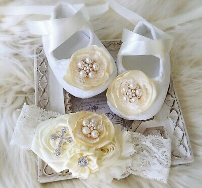 Baby Girl Ivory Christening Baptism Shoes Cross Satin Flower Pearls Headband Set