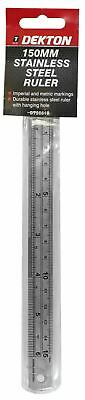 """Dekton 6"""" Ruler 150mm Stainless Steel Metal Metric Inches & Conversion Table"""