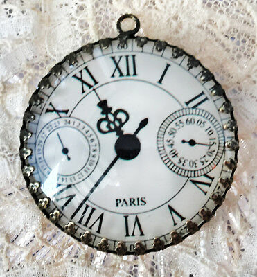 SHABBY PARIS WATCH FACE~ XL ROUND 35mm PENDANT Filigree ~ VINTAGE CLOCK DIAL ART