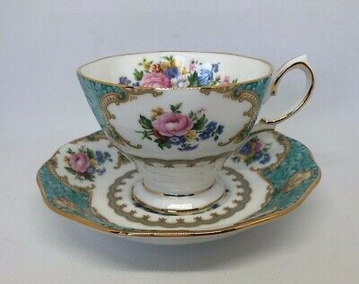 Royal Albert Lady Ascot 1994 Blue Turquoise Malvern Cup & Saucer - Beautiful!!