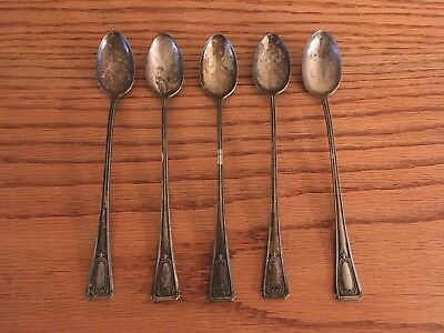 Antique Silver Plate Iced Tea Spoons; Set of 5; E&JB; E & J Bass; FREE SHIP