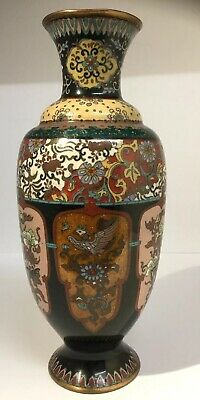 FINE Quality Antique Japanese Cloissone Polychrome Vase Late Meiji Period 9 1/2""