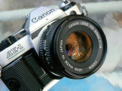 Canon Ae-1 Program Camera With Canon 50Mm F1.8 *serviced 35Mm Slr Manual *ex+