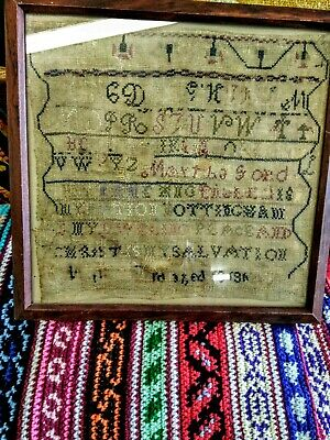 Antique  Primitive 1800's Stitchery Sampler  Prayer Verse Textile