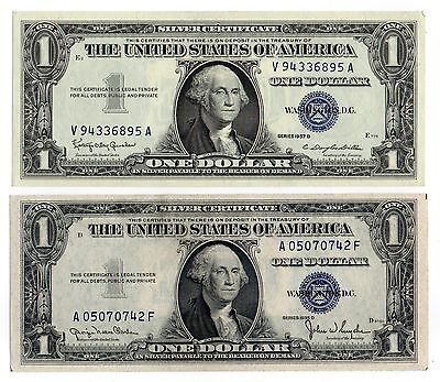 1935D& 1957B $1 United States Silver Certificates, Blue Seal, Nice Old Currency