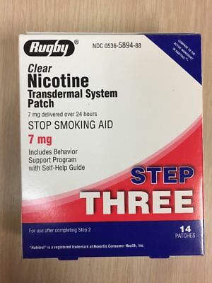 STEP 3 Rugby Stop Smoking Aid  EXP: 06/2021 Nicotine Transdermal 14 Patches,