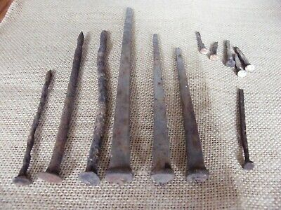 Antique Vintage Iron Metal Nails Spikes Fasteners Square Heads