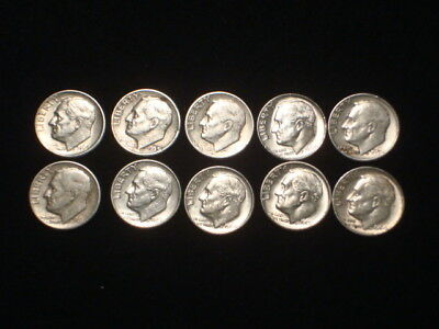 $1.00 Face Value U.s. Coins 90% Silver  10- Roosevelt Dimes Random Dates