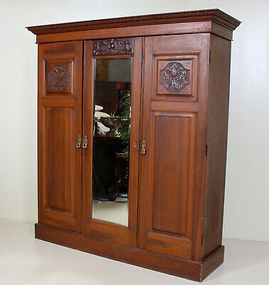 Large Antique Edwardian Compactum Wardrobe Carved Walnut Mirrored Triple Armoire