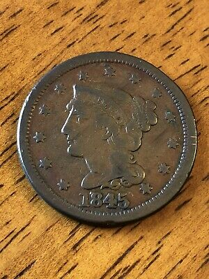 1845 Braided Hair Large Cent Coin - Fine (F) Condition