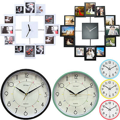 """Family Wedding Picture Wall Clock 12 Multi Photo Modern Aperture Frame Home 14"""""""