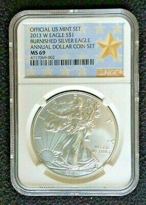 2013-W Burnished American Silver Eagle NGC MS-69 - from Annual Dollar Set w/ OGP