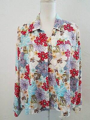3cdd409b25afe4 Focus Womens Sz Large Red Floral Tencel Long Sleeve Collared Blouse Tank  Set 2Pc