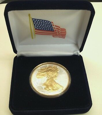 *BUY HERE! 1 oz-*2019 FN AM SILVER EAGLE$1CNS(BU)+24KT GOLD GILDED+AM FLAG+Case