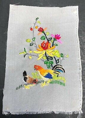 Finished Asian Silk Embroidery Panel Rooster Hen Flowers 6-3/4 x 4-1/2 inch