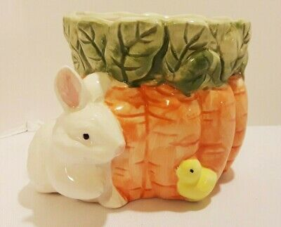 Ceramic Bunny Rabbit Carrot & Chic Easter Glass Planter Container