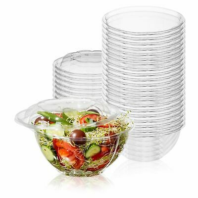 50-Pack 32oz Plastic Disposable Salad Bowls with Lids Eco-Friendly Clear Food