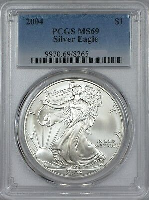 2004 American Silver Eagle PCGS MS69 - Five Coins