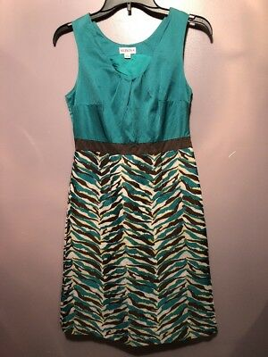 249f4168e45c Merona Size 2 Dress Green Brown Animal Print Sleeveless Side Zip Women AD14