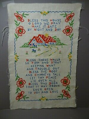 """Colorful Antique Vintage Bless This House Poem Satin Stitch Sampler 11"""" by 17"""""""
