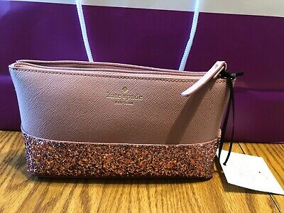 6317c32011 NWT Kate Spade Greta Court Little Shiloh Cosmetic Bag Make Up Case Glitter  Pink
