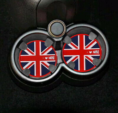 x2 RED Union Jack Cup Holder Mat 72mm GB England Flag I Love Mini One, Cooper