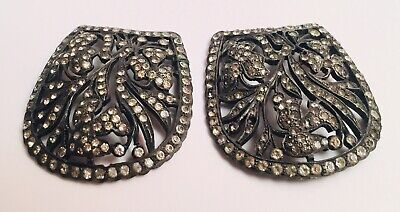 Rare Vintage Art Deco Beautiful Curved French Filigree Rhinestone Shoe Clips