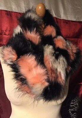 Fab River Island Snood Very Wide Hairy Faux Fur Large Collar Scarf Or Muff Fab!