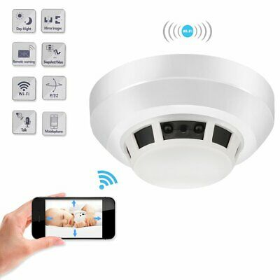 1080P HD WIFI night vision IR security mini camera DVR smoke detector Camera☟✌